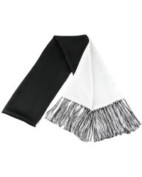 Black.co.uk - Black And White Double Faced Silk Dress Scarf With Hand Knotted Tassels - Lyst