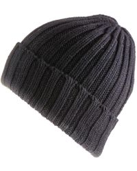 Black.co.uk - Black Chunky Rib Knit Cashmere Beanie - Lyst