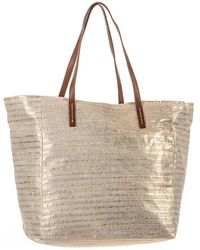 Black.co.uk - Gold And Sand Beach Bag - Lyst