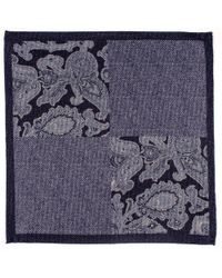 Black.co.uk - Liscia Blue And Grey Cotton Italian Pocket Square - Lyst