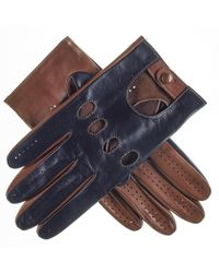 Black.co.uk - Navy And Tobacco Italian Leather Driving Gloves - Lyst