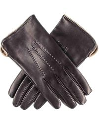 Black.co.uk - Men's Black And Taupe Leather Gloves - Cashmere Lined - Lyst