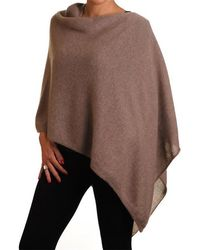 Black.co.uk - Light Brown Knitted Cashmere Poncho - Lyst