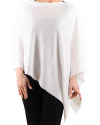 Black.co.uk - White Cotton And Cashmere Poncho - Lyst