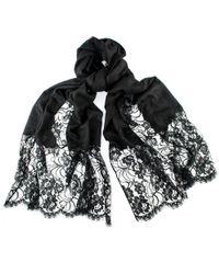 Black.co.uk - Black Cashmere And Chantilly Lace Shawl - Lyst