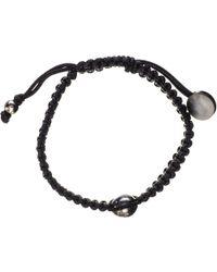 Black.co.uk - Mimas Single Tahitian Black Pearl And Macrame Bracelet - Lyst