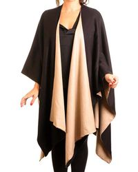 Black.co.uk - Camel And Black Double-sided Cape - Cashmere And Silk - Lyst