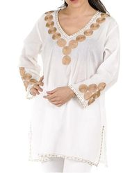 Black.co.uk - White And Gold Embroidered Cotton Kaftan Top - Lyst