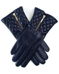 Black.co.uk - Navy Leather Quilted Gloves With Cashmere Lining - Lyst