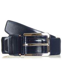 Black.co.uk - Navy Blue Textured Leather Belt - Lyst