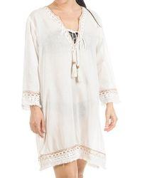 Black.co.uk - White And Bronze Cotton Kaftan Dress - Lyst