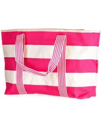 Black.co.uk - Rock Candy Hot Pink And White Striped Beach Bag - Lyst