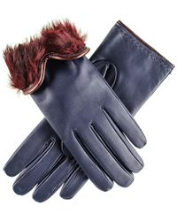 Black.co.uk - Navy And Burgundy Rabbit Fur Lined Leather Gloves - Lyst