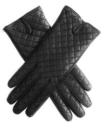 Black.co.uk - Black Leather Quilted Gloves - Cashmere Lined - Lyst