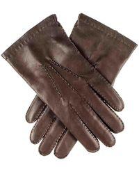 Black.co.uk - Men's Dark Brown Cashmere Lined Leather Gloves - Lyst