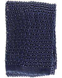 Black.co.uk - Navy Blue Italian Knitted Silk Tie - Lyst
