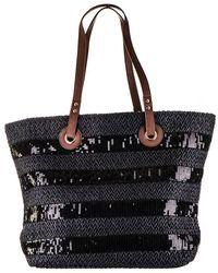 Black.co.uk   Oversize Black Woven Straw Beach Bag   Lyst