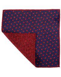 Black.co.uk - Claret And Navy Reversible Wool Pocket Square - Lyst