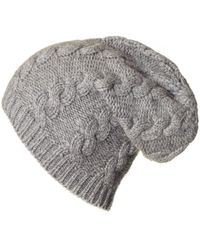 Black.co.uk - Grey Cable Knit Cashmere Slouch Beanie - Lyst