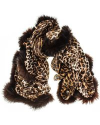 Black.co.uk - Fur Trimmed Leopard Print Cashmere Ring Shawl - Lyst