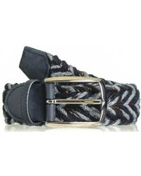 Black.co.uk - Navy Grey And Brown Woven Leather And Wool Belt - Lyst