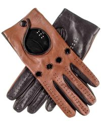 Black.co.uk - Ladies Cognac And Black Leather Driving Gloves - Lyst