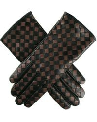 Black.co.uk - Black And Taupe Woven Leather Gloves - Cashmere Lined - Lyst