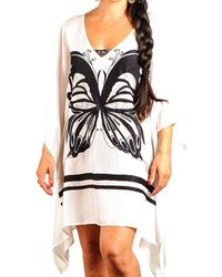 Black.co.uk - Black And White Butterfly Silk Kaftan - Lyst