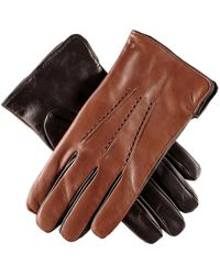 Black.co.uk | Men's Tobacco And Black Leather Gloves - Cashmere Lined | Lyst