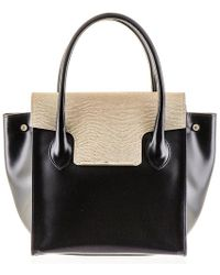 Black.co.uk - Black And Gold Calf Leather Tote - Lyst