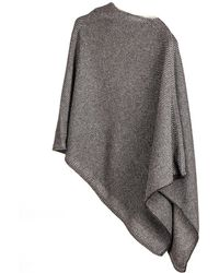 Black.co.uk - Charcoal And Ivory Knitted Cashmere Poncho - Lyst