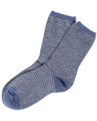 Black.co.uk - Denim Blue And Light Grey Striped Cashmere Socks - Lyst