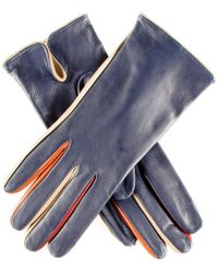 Black.co.uk - Navy Leather Gloves With Multi Tone Detail - Silk Lined - Lyst