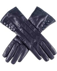 Black.co.uk - Dark Navy Leather Gloves With Button Detail - Cashmere Lined - Lyst