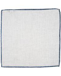 Black.co.uk - White And Blue Linen Pocket Square - Lyst