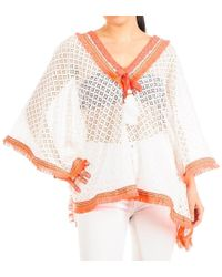 Black.co.uk - Hot Orange And White Cotton Kaftan Top - Lyst