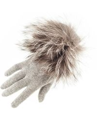 Black.co.uk - Grey Cashmere And Fox Fur Gloves - Lyst