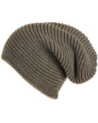 Black.co.uk - Olive Green Cashmere Slouch Beanie Hat - Lyst