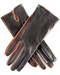 Black.co.uk - Black Leather Gloves With Multi Tone Detail - Silk Lined - Lyst