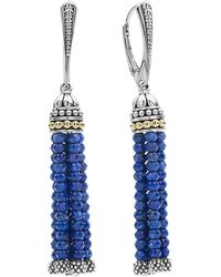 Lagos | 18k Gold And Sterling Silver Caviar Icon Lapis Tassel Drop Earrings | Lyst
