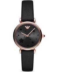 Emporio Armani - Black Leather Strap Watch 32mm - Lyst