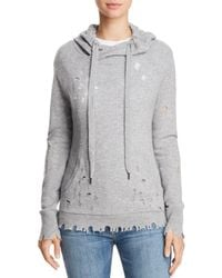 Aqua - Cashmere Distressed Cashmere Hooded Sweatshirt - Lyst