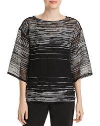 Eileen Fisher - Sheer Line-print Top - Lyst