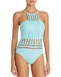 Kenneth Cole - Perforated Bandeau One Piece Swimsuit - Lyst