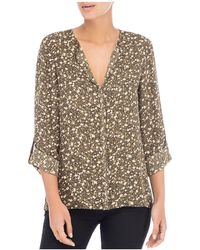 B Collection By Bobeau | Floral Roll-sleeve Blouse | Lyst