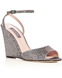 SJP by Sarah Jessica Parker - Women's Boca Glitter Ankle Strap Wedge Sandals - Lyst