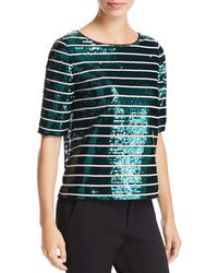 Badgley Mischka - Sequined Striped Tee - Lyst