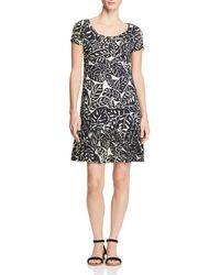 Three Dots - Palm Print Ruffle Dress - Lyst