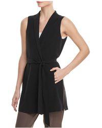 Eileen Fisher - Silk Long Belted Vest - Lyst