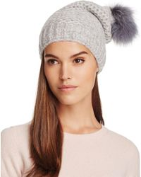 Inverni - Fur Pom-pom Slouchy Beanie - Lyst